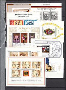 Briefmarken-Bund-BRD-alle-Bloecke-1974-1982-postfrisch-Block-10-18
