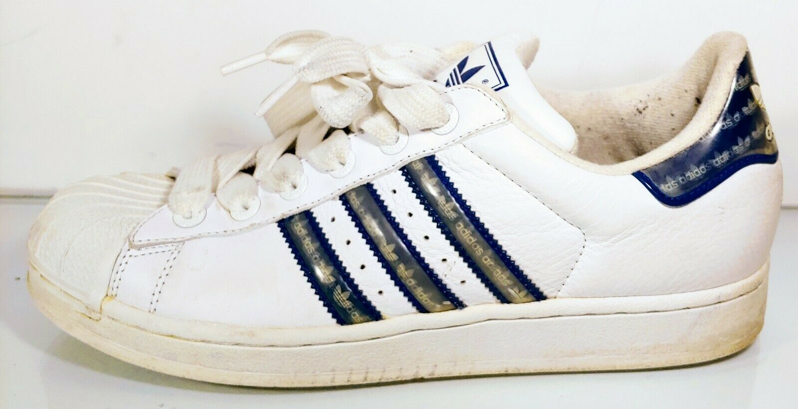 ADIDAS Superstar 2003 White Limited Rare 3D Stripe Leather Lace up Men's 8.5