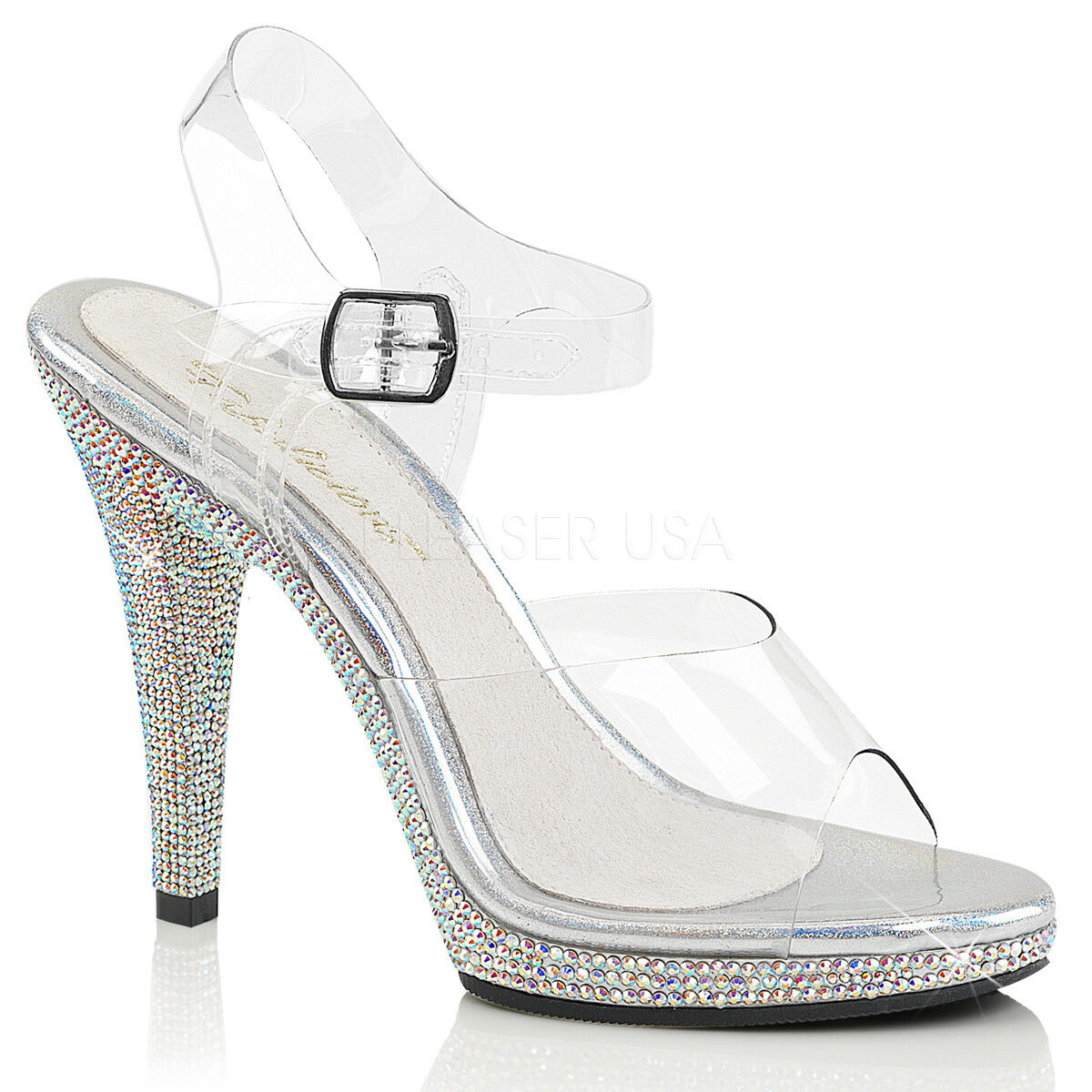 Clear Silver Crystals High Heels Drag Queen Beauty Pageant Womans shoes 13 14 15