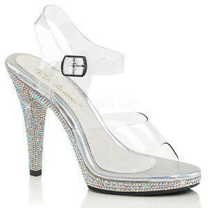 6008e2b434002 Clear Silver Crystals High Heels Drag Queen Beauty Pageant Womans ...