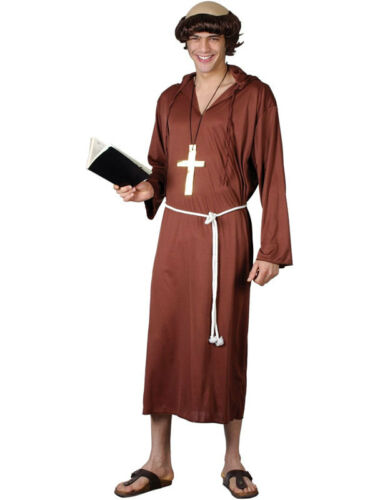 Details about  Friar Tuck Medieval Monk Of The Abbey Religious Robe Mens Fancy Dress Costume