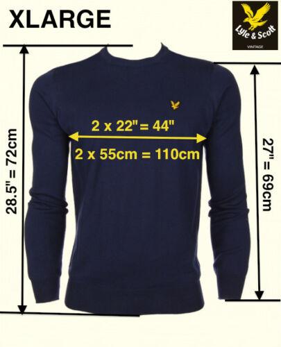 XL XXL RRP £ 85 L Lyle and Scott 100/% Coton Bleu Marine Pull à encolure ras-du-cou S M