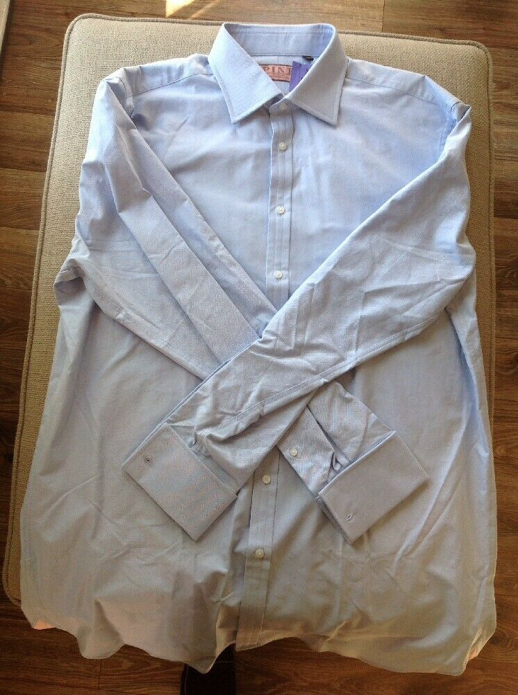 NEW THOMAS PINK FRENCH CUFF CLASSIC FIT LS OXFORD blueE DRESS SHIRT SIZE 18-37