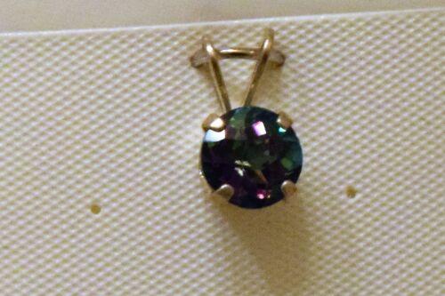 Mystic Topaz 6 mm 1.10 Ct Argent Sterling Collier Belle Arc-en-ciel de couleurs