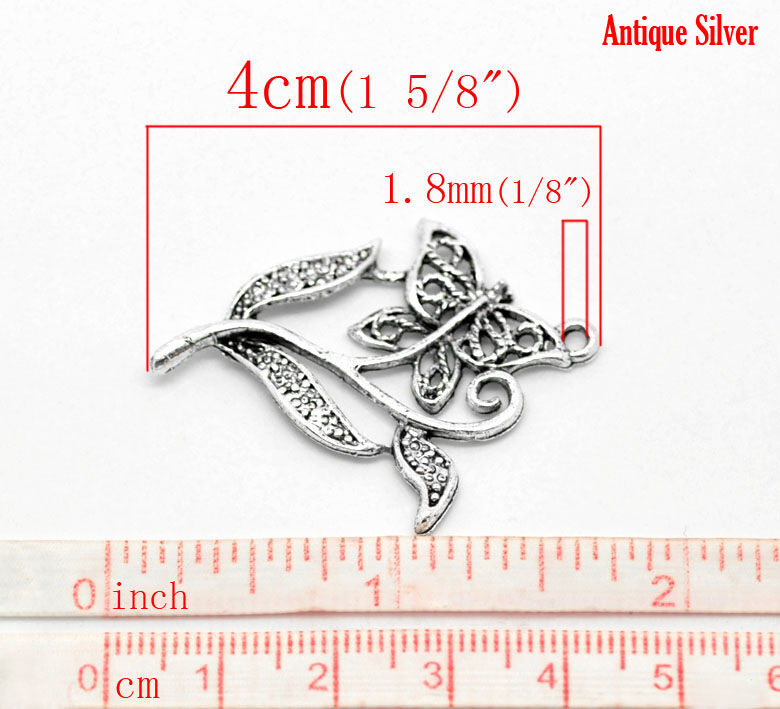 4pcs Antique Tibetan Silver Pendants Charm Jewelry Supplies Mirror 74x26x3mm HC