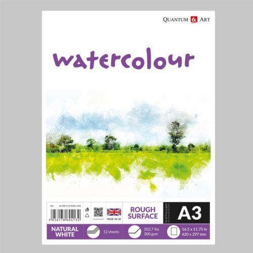 Watercolour Rough Surface Pad Drawing Artist Paper 300gsm GUMMED Book