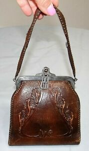 Vtg-Victorian-Hand-Tooled-Leather-Bosco-Built-Handbag-Purse-Locking
