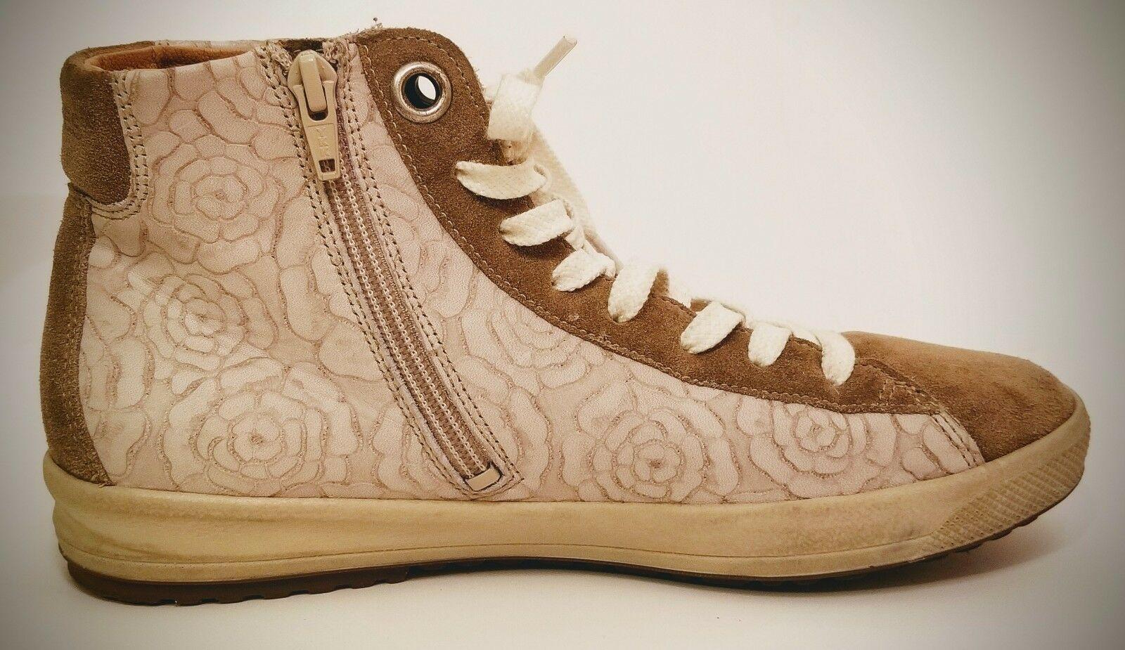 Hartjes Hightop Sneakers Women's 5.5 Model 46372 gold Suede Suede Suede and Peony Cut Leathe e3863b