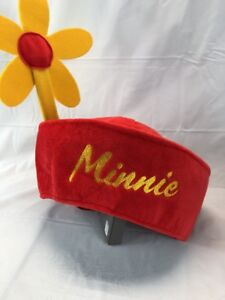 Disney Parks Minnie Mouse Red Hat With Large Yellow Flower Adult Nwt