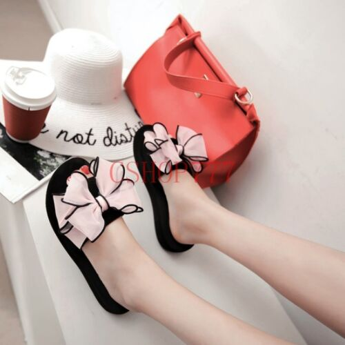 Womens Summer Beach Slippers Wedge Heel Bowknot Casual Slip On Shoes Clip Toe US