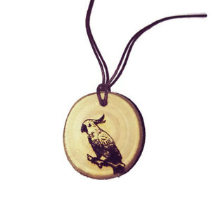 COCKATOO-PARROT-Personalised-Necklace-Charm-Wood-Natural-Handmade-Bird-Pendant