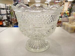 Vintage Anchor Hocking Wexford Crystal Footed Pedestal Compote ...