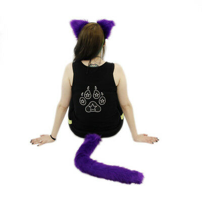 PAWSTAR Furry Kitty Cat Ears & Tail Set - Adult Costume Purple fluffy [PU]4000