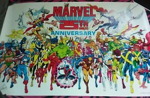 Marvel-25th-Anniversary-Poster-1986-Poster-Gammil-Rubenstien-Signed-By-Stan-Lee