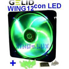 VENTOLA PWM VERDE con LED BIANCHI per CASE PC 120mm GELID FAN 12 120 25 UV 12cm!