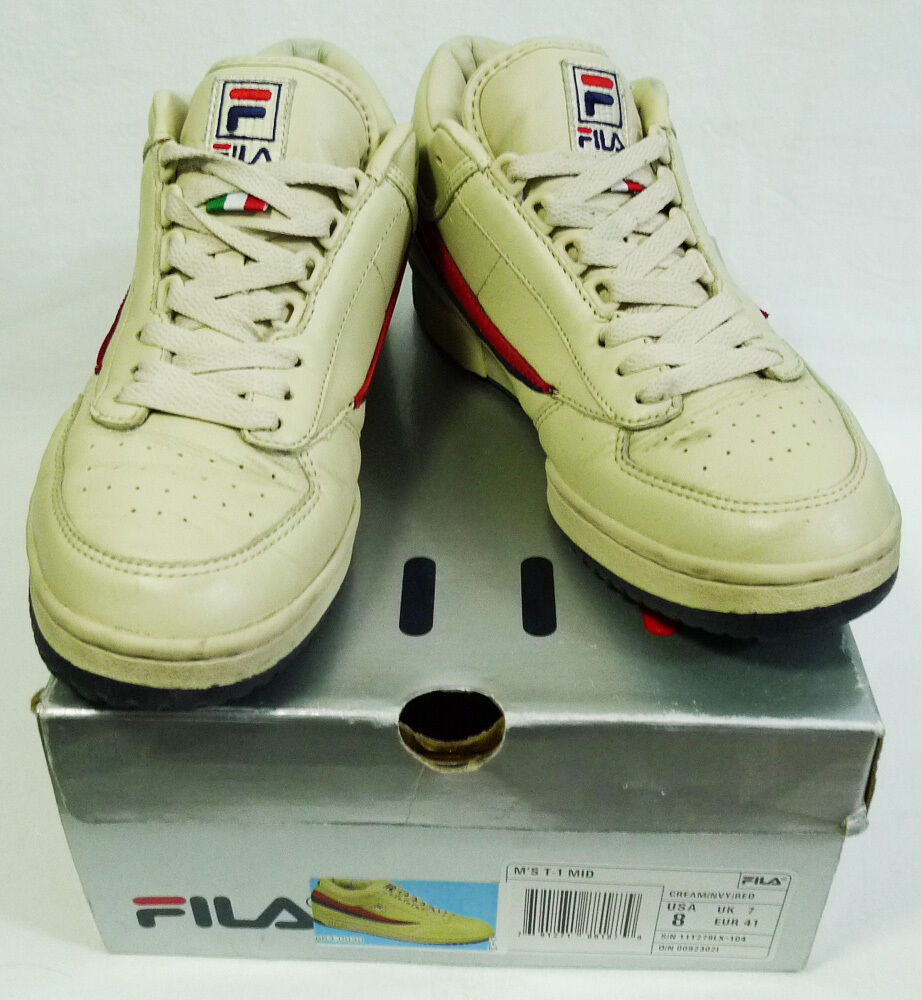 Vintage FILA T-1 Mid Cream Navy Red Sneakers size 8 Cheap and beautiful fashion