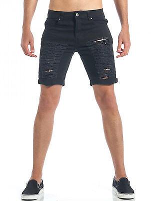 Pantalones Casual Diamond Cortos Negro Bermudas Hombre Rasgados wiTkOZuPX