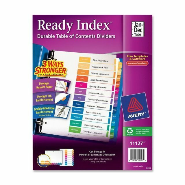 Avery Dennison Ave-11127 Ready Index Table Of Contents Reference for sale online