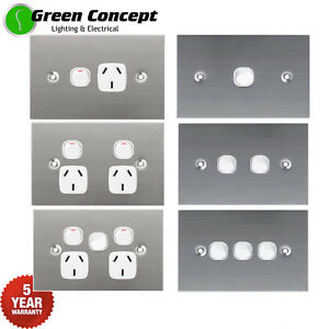 Flat-1mm-Solid-Stainless-Steel-Silver-Light-Switch-Double-Power-Point-GPO-White