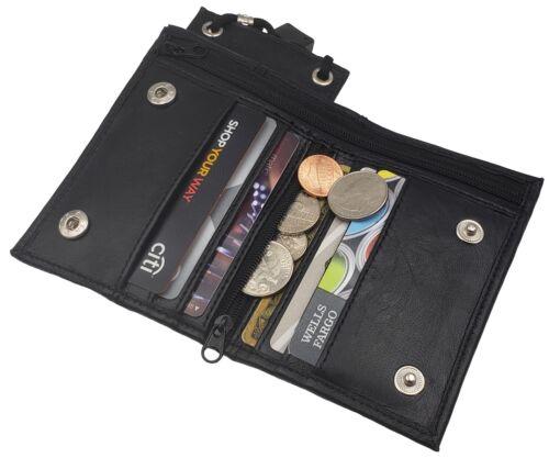 Leather Neck Lanyard ID Badge Holder Mini Cross Body  Bifold Wallet Black New