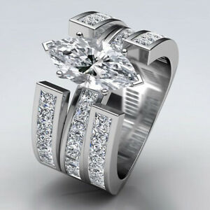 Fashion-Women-925-Silver-Ring-Marquise-Cut-White-Sapphire-Wedding-Ring-Size-6-10