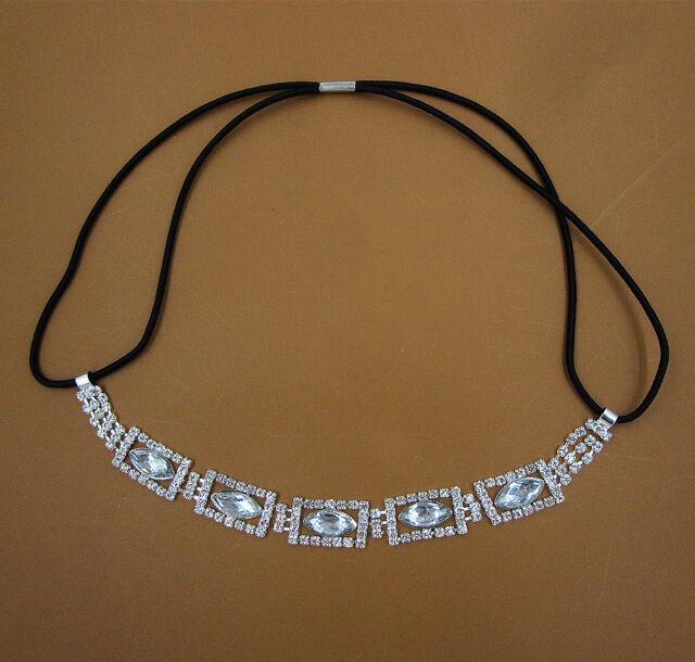 Bridal Crystal Rhinestone Chain Wedding Headband Elastic Stretch Hair Band FD-8