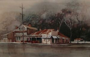 AUSTRALIAN-SCHOOL-APPEALING-ORIGINAL-GOUACHE-amp-WATERCOLOUR-PAINTING