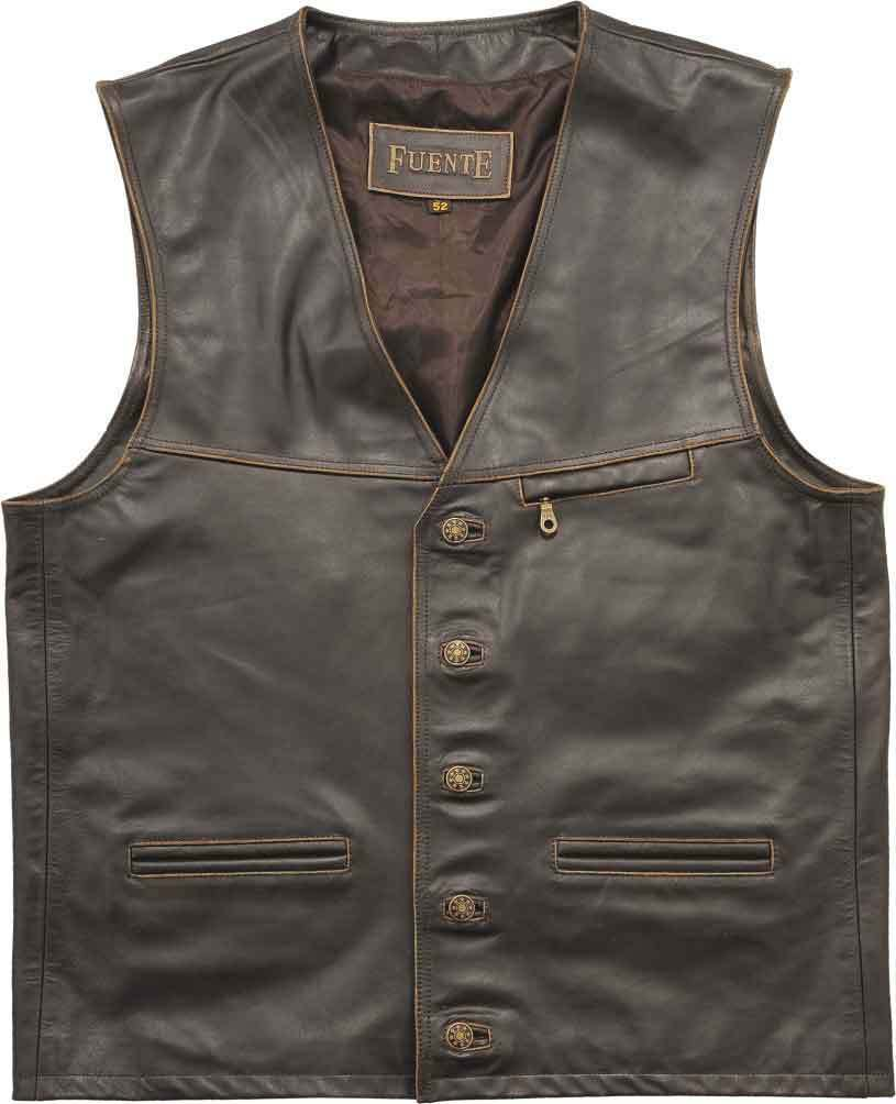 Mens Leather Gilet Biker Style Waistcoat Vest Hunting Hiking Outdoormarrón verde