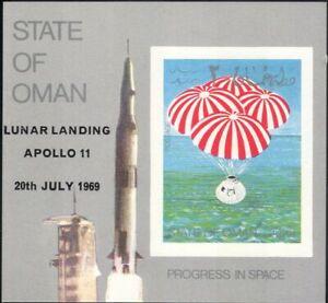 Oman-1969-spazio-Apollo-11-ATTERRAGGIO-LUNARE-PARACADUTE-Capsula-HUNGARIAN-M-S-n11379