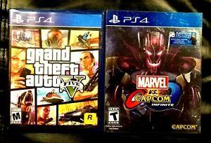 Lot-ps4-games-GTA-5-GRAND-THEFT-AUTO-V-MARVEL-VS-CAPCOM-PREMIUM-EDITION-CASE-NEW
