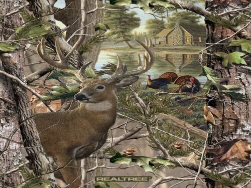 Realtree Deer and Turkey Hunting Cabin Woods Scenic Fleece Fabric Panel A505.30
