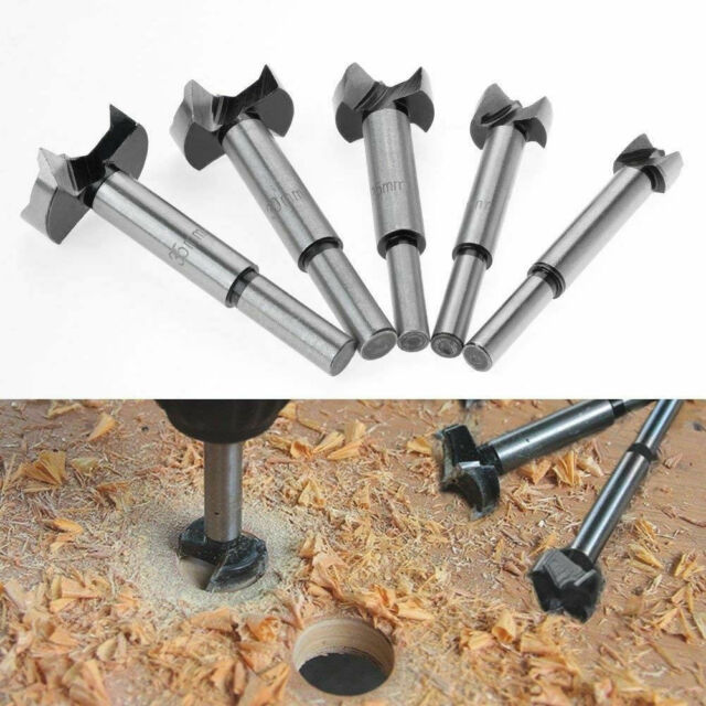 5pc Forstner Wood Drill Bit Set Hole Saw Cutter Wood Tools with Round Shank