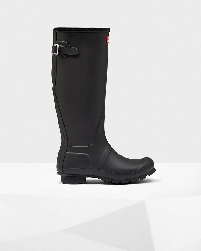 Hunter Women's Original Back Adjustable Rain Boots Black