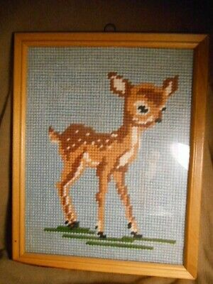 Doelstelling Fawn Baby Deer Needlepoint Kit Completed Framed Behind Glass Klanten Eerst