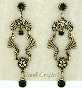 24k Gold Plated Vintage Look Black Jet Crystal Cameo Post Earrings w// Box