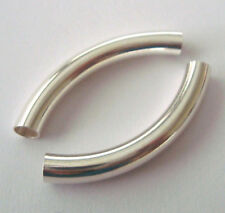 4pcs  5mm x 38mm Sterling SILVER Tube plain bangle curved liquid elbow tube S538