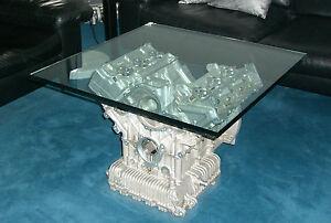 tisch table maserati biturbo motor mit glasplatte 75x75 cm. Black Bedroom Furniture Sets. Home Design Ideas