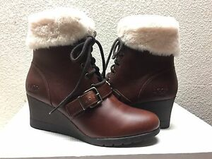 eec33ad96c4 Details about UGG JANNEY STOUT WATERPROOF LEATHER ANKLE WEDGE BOOT US 8.5 /  EU 39.5 / UK 7 NEW