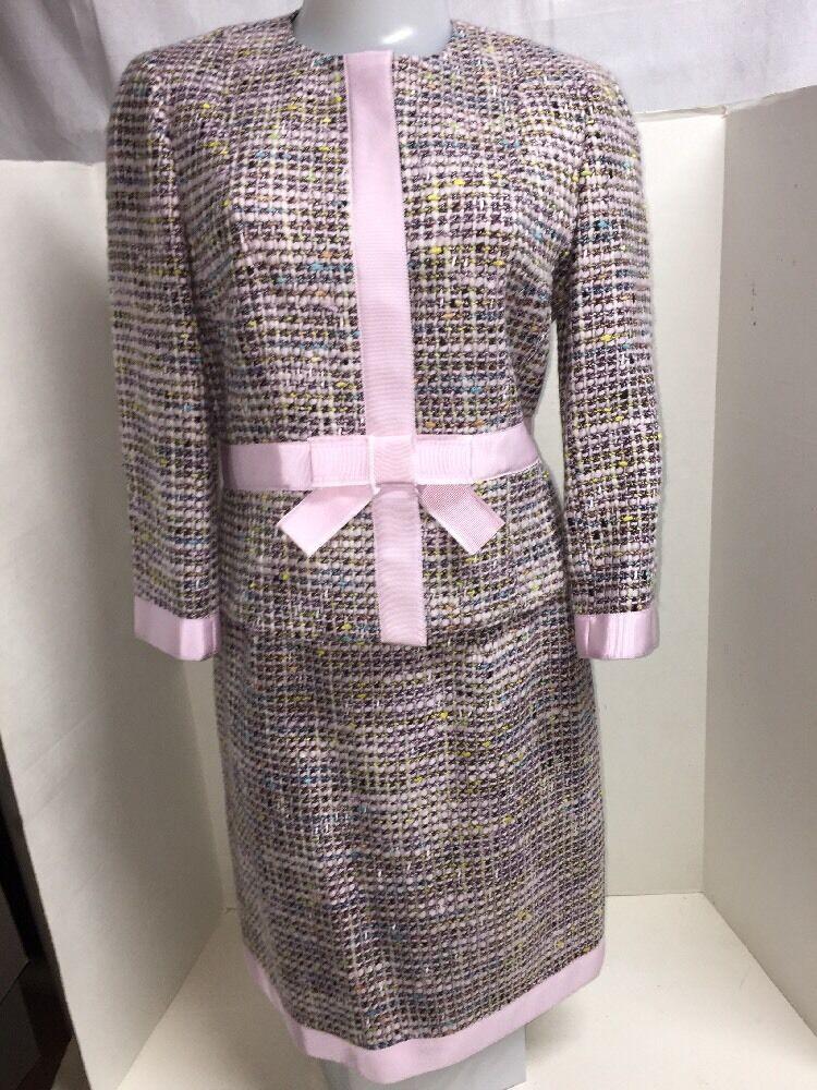 Jon Women`s Classic Tweed Skirt Suit Size M 4
