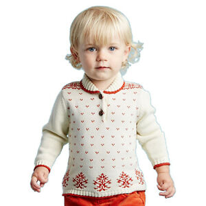 Dave Bella Baby Toddler Boy Holiday Theme Knit Ivory Wred Sweater