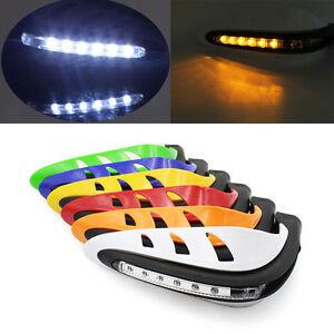 "7//8/"" Dirtbike ATV Motorcycle Brush Bar Hand Guard Handguard LED Light Black"
