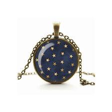 Glass Charm Cameo Pendant Necklace, Celestial Stars & Night Sky Galaxy