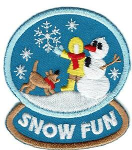 Girl Boy Cub Snow SLEDDING sleds Hill Patches Crests Badges SCOUT GUIDE Playing