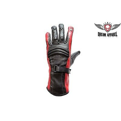 Womens Motorcycle Full Finger Premium Leather Riding Gloves Black//Red