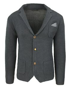 Giacca-Cardigan-uomo-Slim-Fit-aderente-grigio-scuro-con-pochette-da-taschino