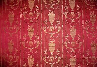 "STUNNING ""POMPEII DREAMS"" NEOCLASSICAL TOILE DAMASK FABRIC 10 YARDS RED"