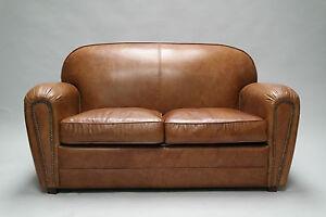flea ledersofa 2 sitzer couch antik braun loungesofa vintage leder matz m bel ebay. Black Bedroom Furniture Sets. Home Design Ideas