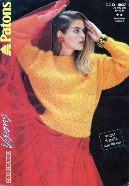 "~ Patons Knitting Pattern For Lady's Dolman Sleeve Mohair Sweater ~ 30"" ~ 40"""