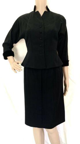 1940s Prestige Junior Black Grosgrain Skirt Suit S