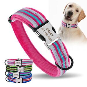 Fleece-gepolstert-Hundehalsband-Personalisiertes-Reflektierend-mit-Namen-Gravur